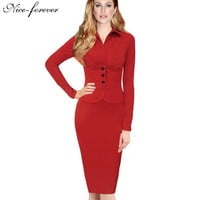 Nice-forever New Fashion Long Sleeve Office Bodycon Dress
