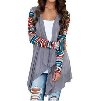 Knitted Open Stitch Aztec Stripes Cute Women Long Cardigan Ladies Sweater