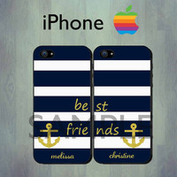 Nautical Best Friends Blue Stripe iPhone case - RUBBER iPhone 4 case or iPhone 5 case - Personalized Gold Anchor iPhone Case, Two Case Set