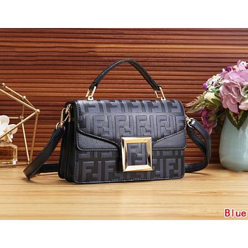 FENDI Newest Fashionable Women Leather Handbag Tote Shoulder Bag Crossbody Satchel Blue