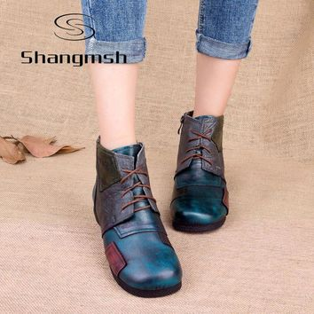 Shangmsh 2017 Fashion Handmade Boots For Women Genuine Leather Ankle Shoes Vintage Mom Shoes Retro Folk Style Sapphire Boots