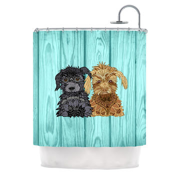 "Art Love Passion ""Daisy and Gatsby"" Abstract Puppies Shower Curtain"