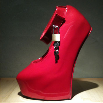 New Red Patent-Leather Wedge Heels, 20 cm High with Sexy High-Heeled Shoes,Ankle Buckle Party Shoes ,Ballet High Heels SHOE033