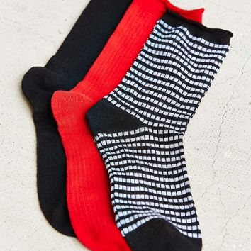 3 Pack Striped and Solid Socks - Urban Outfitters