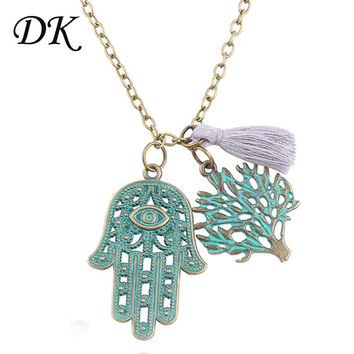 New style of palm life tree charm Necklace Fatima hamsa Hand Pendants Necklace Luck Hand green Palm Statement Necklace collares