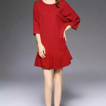 Flounce Cashmere Dress