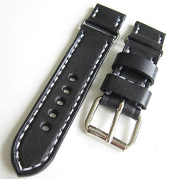 Black Watch Strap,  24mm Leather Strap