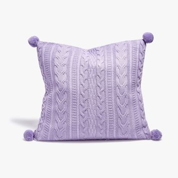 Lilac Cable Knit Throw Pillow