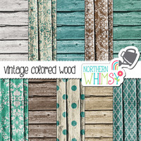 Wood Digital Paper Pack – barn board papers in brown and teal for digital scrapbooking – wood scrapbook paper - wood texture -commercial use
