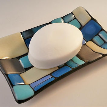 Fused Glass soap dish - candle holder - geometric pattern - ring holder - trinket dish - glass fusion - mosaic pattern - soap holder