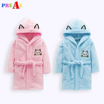 Children's Bathrobes Kids Hooded Cartoon Pokemon Baby Clothes Pajamas Kids Sleepwear Boy Girls Cartoon Bathrobe Flannel Pajamas