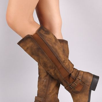 Buckled Strap Elastic Gore Inset Riding Knee High Boots
