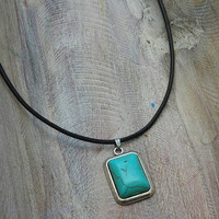 Turquoise pendant. Turquoise jewelry. Leather and turquoise necklace. Boho. Tribal. Gift for her.