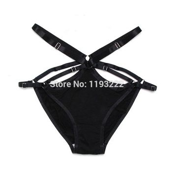 Lolita Harajuku Sexy Handmade Cut Out Frame Caged Hollow Bandage Underwear String High Rise Waist Shaped Thongs Brief Panties