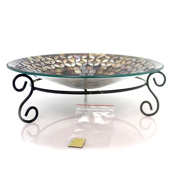 Home & Garden BRONZE OPALS MOSAIC BIRDBATH Glass Tabletop Water Drink 65727.