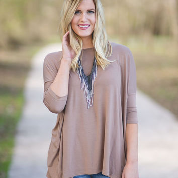 PIKO 3/4 Sleeve Top - Khaki