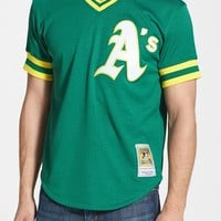 Men's Mitchell & Ness 'Rickey Henderson - Oakland Athletics' Authentic Mesh BP Jersey,