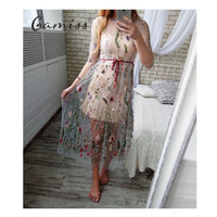 Gamiss Party Embroidery Dresses Ruway Floral Bohemian Flower Embroidered Vintage Boho Mesh Embroidery Dresses For Women Vestido