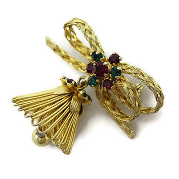 Vintage Christmas Brooch - Woven Wire, Red and Green Rhinestones, Bell, Costume Jewelry