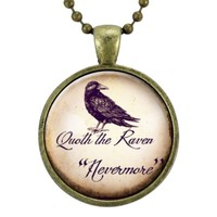 Raven Nevermore Necklace, Gothic Edgar Allan Poe Jewelry, Goth Halloween Costume Accessory, Crow Pendant