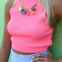 Aurora Neon Multi Color Tassel Necklace