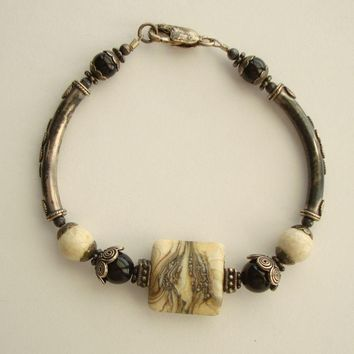 Baryte Pyrite Marcasite Matrix Bracelet Sterling Silver Unusual Gemstone Jewelry