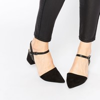 New Look Pint Black Mid Block Heel Two Part Shoes