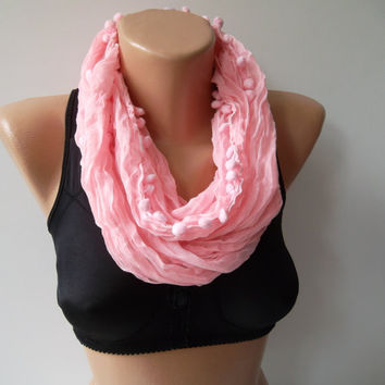 Pompom scarf ...neon pink  scarf...Cotton fabric...summer scarf