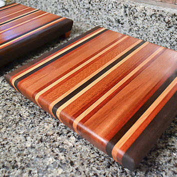 Two Handmade Medium Wood Cutting Boards - The Autumn Harvest II - Bloodwood, Black Walnut, Cherry, Mahogany, Lacewood