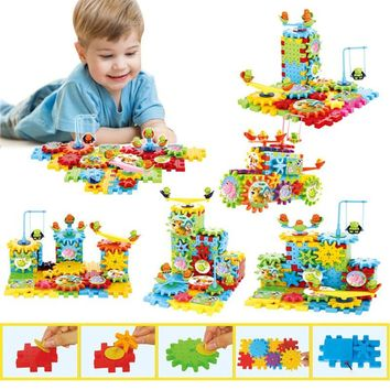 DIY 81 Pcs Gear Toys For Children Baby Electronic Building 3D Puzzles Blocks Kits Bricks Early Learning Education Toys Gifts