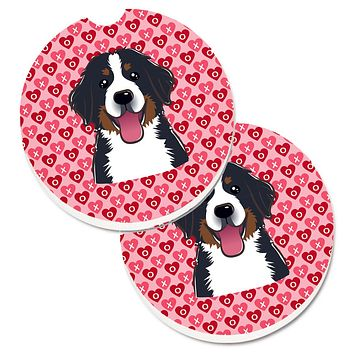 Bernese Mountain Dog Hearts Set of 2 Cup Holder Car Coasters BB5307CARC