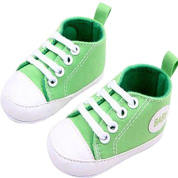 Fashion Infant Toddler Newborn Shoes Baby Girl Boy Sports Sneakers Soft Bottom Anti-slip T-tied First Walkers