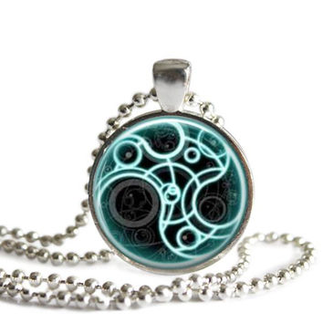 Doctor Who Time Lord Gallifreyan Necklace Handcrafted Silver Plated Pendants on a Ball Chain Necklace