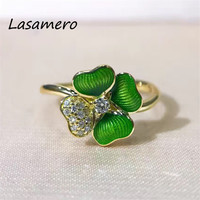 LASAMERO Ring For Women 0.079 CT Round Cut  Flower Ring Accents 18k Gold Real Diamond Engagement Wedding Ring