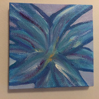 Teal Flower - 4x4 wall art .  Ovarian Cancer Awareness - Listen to the Whispers- fight like a girl  - Teal Tuesdays - Cancer Awareness-