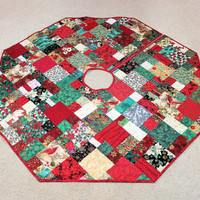 Christmas Tree Skirt with Cardinals Poinsettias Red Green - 50 inch, Scrappy Patchwork Quilt