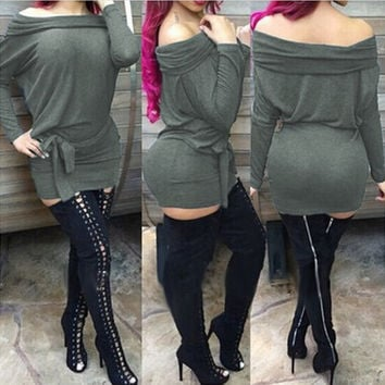 Dark Green Slash Neck Long Sleeve Dress