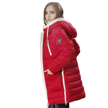 2017 New Winter Women Coat Jacket Solid Hooded Full Length Woman Coat Thick Coat Women Collection Hot Plus Large Size 3XL