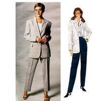 90s VOGUE JACKET PATTERN Vogue Pants Pattern Vogue Suit Genny Vogue 1402 Designer Original Size 6 8 10 UNCuT Vintage Womens Sewing Patterns