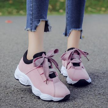 Bomlight New Spring Summer Pink Women Sneakers Waterproof Leather Woman Vulcanize Shoes Crepeer Platform Casual Shoe Vintage 500