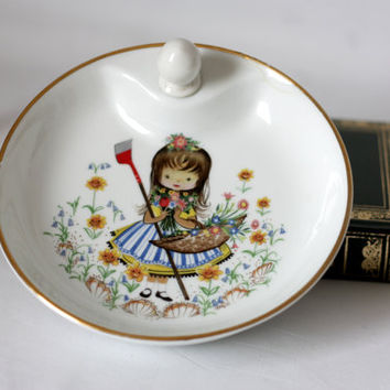 Old Limoges porcelain plate for porridge with cap, heated plate, baby meal, Art deco