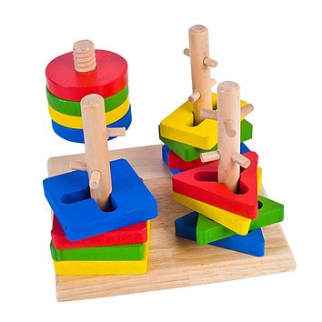 Wooden Column Shapes Stacking Toys Baby Kids Preschool Educational Toy Geometric Sorting Board Blocks Montessori Building Blocks