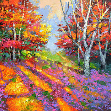 The last rays - Modern Art OIL PALETTE KNIFE Painting on canvas by Dmitry Spiros. 28x28 in. (70 x 70 cm)