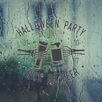 Halloween Party 31 10 28 Free Entry Trick Or Beer Vinyl Wall Decal - Removable (Indoor)