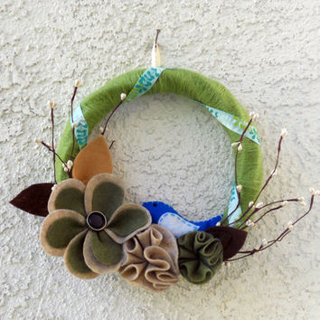 Woodland nature felt and yarn wreath with blue by ValkinThreads2