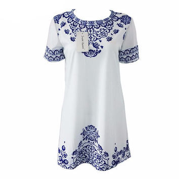 Simplee Apparel china element summer style dress Blue and white porcelain print elegant vestidos 2015 new brand lady verao dress