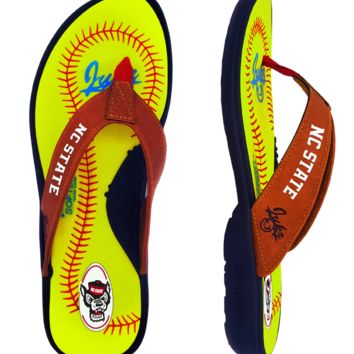 NC State Wolfpack  Softball Flip Flops