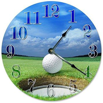 "Large 10.5"" Wall Clock Decorative Round Wall Clock Home Decor Novelty Clock GOLF BALL HOLE"