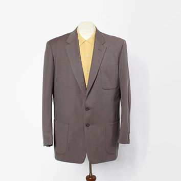 Vintage 50s Men's Blazer / 1950s Gray Blue Fleck Sharply Tailored Wool Gab Suit Jacket L 44