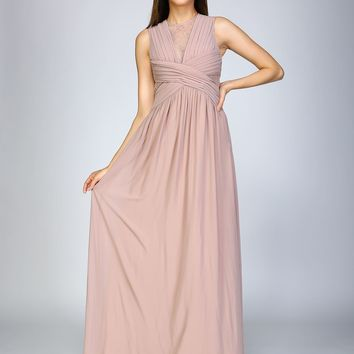 Killian Pleated Gown with Lace Accents